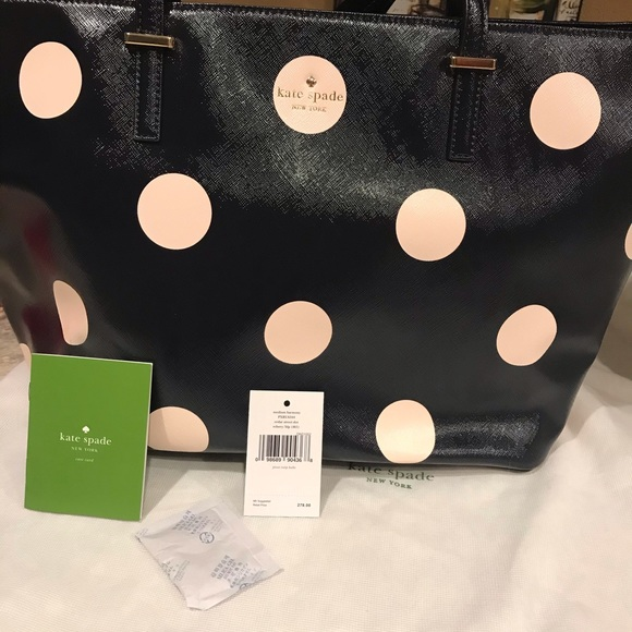kate spade Handbags - Kate Spade Tote Midnight Blue w/ Pale Pink dots